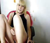 Naughty blonde shemale jerks off adorably