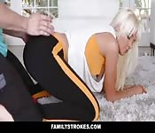Young boy teased by her naughty stepmom
