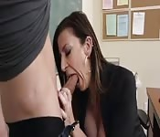 Busty teacher fucks her student.