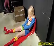 Cosplay parody with a sexy super girl