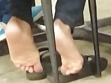 Candid Ebony Shoeplay in Cafeteria 3