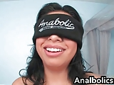 Blindfolded busty latina sucking big
