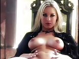 Blonde Babe masturbate on the chair 6