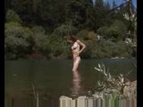 natural redhead getting off by river voyeur style micro mini bikini