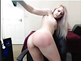 blonde self spanking ass
