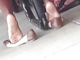 Candid Ebony Shoeplay in Cafeteria 1